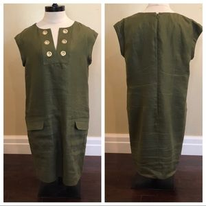 J Crew Linen Shift Grommets Olive Dress